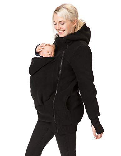 GoFuture Babytragejacke Viva für Mama, Papa und Baby: Bequeme Känguru Tragejacke mit Kapuze aus Fleece, Größe Damen EU:40 Large