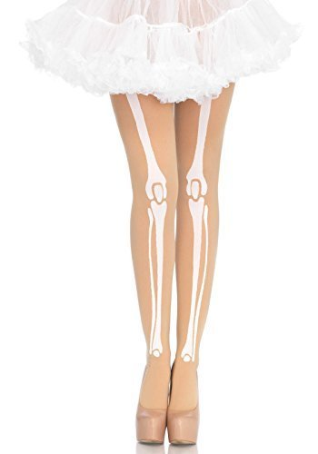 der Hautfarben Skelett Knochen Strumpfhose Halloween Kostüm 8 10 12 14 16 Kostüm Gespenstisch - Hautfarben, One Size (Skelett Halloween-kostüme Uk)
