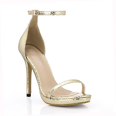LvYuan Da donna-Sandali-Matrimonio Formale Serata e festa-Comoda-A stiletto-PU (Poliuretano)-Nero Dorato Gold