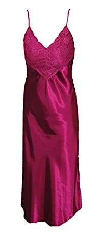 Womens Long Flowing Sexy Satin Nightdress Lace Bust Thin Shoulder