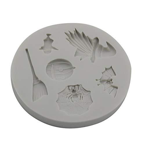 lyward Halloween Kuchenform Sammlung Kürbis Bat Ghost Spider Besen Silikonform Werkzeug Epoxy Clay Mould, Packung Mit 2 (Halloween Sugar Cookies Designs)