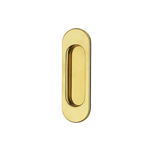 JUVA Design Griffmuschel Messing Einlassgriff für Küche Muschelgriff für Schiebetüren | Modell CLOE | Schiebetür-Griff 125 x 39 mm | Einlassgriff Messing poliert | Möbelbeschläge | 1 Stück