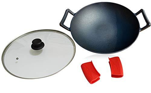 14-Zoll Gusseisen Wok Set (Pre gewürzt), Glas Deckel & Silikon heißen Griff Halter -