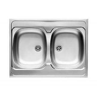 312TPXfn jL. SS324  - Pyramis 100117801fregadero de cocina de acero inoxidable (lino) con un doble cuenco de Intl (80x 60) 2B-lino, color gris