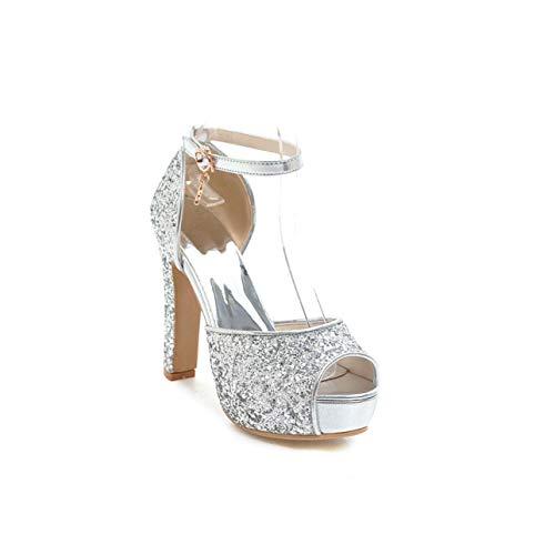 adbbc402725be Summer High Heels Sandals Women 2019 Bling Peep Toe Ankle Strap Footwear  Silver Platform Sandals Wedding Shoes Female Silver 8.5