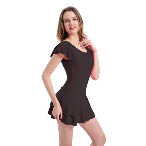 CRBH-FZ FZDamen Einteiliger Badeanzug, Konservativ Sexy Große Größe Weibliche Bedeckte Bauch Schwarz Schlanker Einteiliger Kurzarm Rock Badeanzug,Black,XL
