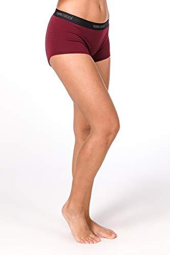 super.natural Körpernahe Damen Unterhose, Mit Merinowolle, W BASE BOYFRIEND HIPSTER 175, Größe: M, Farbe: Dunkelrot