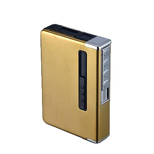 DGBS Custodia per Sigarette Automatica Personalizzabile con Accendino, 8 Sigarette Regolari in Lega di Grana di Legno, Titolare Impermeabile USB Ricaricabile Antivento Senza Fiamma Oro