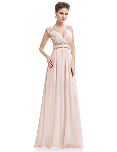 Ever-Pretty da Donna Sottile Vestito Abito Maxi di Pizzo Senza Schienale Vestiti da Cerimonia Abito da Sera Partito Festa Banchetto 46 Arrossire