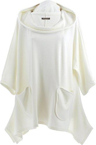 Charleselie94® - Tunique longue asymétrique capuche bohème grande taille blanc VANESSA BLANC Blanc