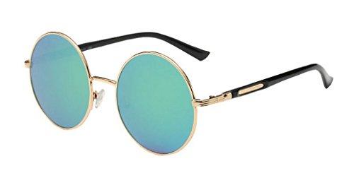 AooPoo Retro Sonnenbrille polarisiert Brille rundes Spiegelglas für Damen und Herren HY601 MyP0x5MzS