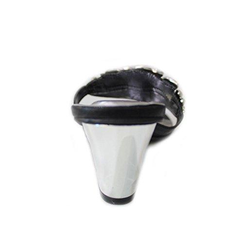 W & W femmes Mesdames Soirée Diamante mariage talon moyen bloc de bois de santal Chaussures à enfiler Confort Taille 4–10(Noir) Noir