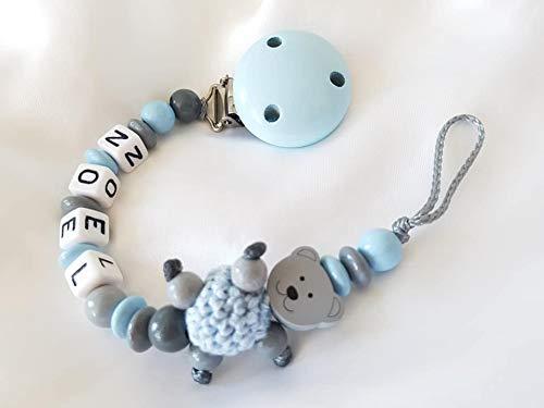 Baby Schnullerkette Teddy, Jungen mit Wunschnamen - Kinder - Geschenk zur Geburt, Taufe - Länge: max. 22cm