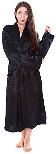 Simplicity Unisex Long Satin Kimono Robe Sleepwear White, One Size (Classic Sd-pocket)