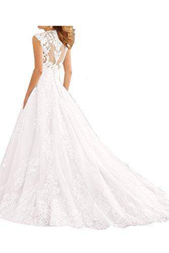 Sunvary Glamour Neu Weiss Ballgown Spitze V-Neck Hochzeitskleider Lang  Brautmode Weiß ...
