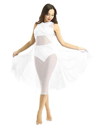 Freebily vestito tutu danza classica donna balletto abito da ballo latino rumba samba tango schiena scoperta body ginnastica artistica dancewear leotards bianco x-small