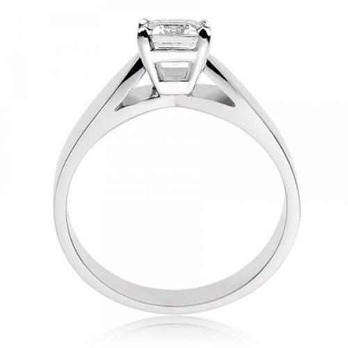 Diamond Manufacturers, Damen, Verlobungsring mit 0.25 Karat E/VS1 feinem und zertifiziertem Smaragddiamant in 18k Weißgold, Gr. 41 - 3