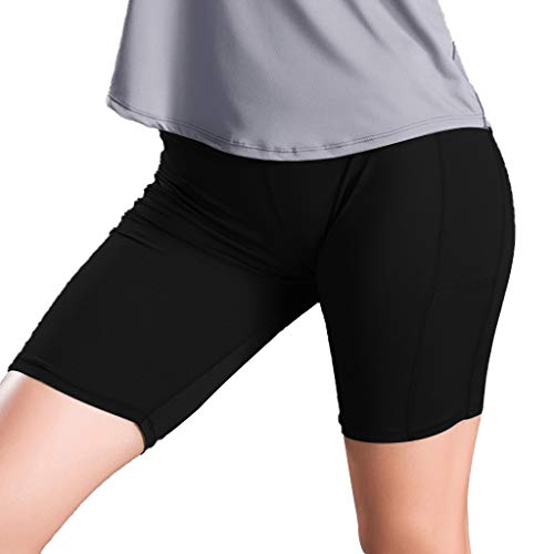 Sonnena Damen Fitness Damen Shorts, Kurze Yogahose, Schnell trocknende Trainieren Sporthose mit Taschen, Hohe Taille Sport Leggings -