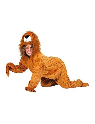 Halloweenia - Herren Männer Kostüm Plüsch Löwe Lion Fell Einteiler Onesie Overall Jumpsuit, perfekt für Karneval, Fasching und Fastnacht, M, Braun