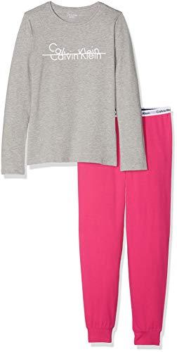 Calvin klein knit pj set (ls+cuffed), pigiama bambina, grigio (1greyheather/1beetrootpurple 097), 164 (taglia produttore: 12-14)