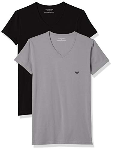 Emporio Armani CC717-111512 - T-shirt - Uni - Manches courtes - Homme - Multicolore (Nero/Grigio) - Large (Taille fabricant: L) (lot de 2)