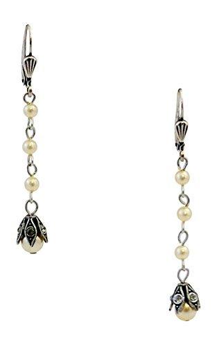 Catherine-POPESCU-Dangling-Bltenblatt-Ohrringe-grau-Swarovski-Kristalle