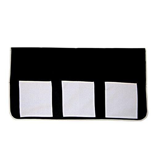 Homestyle4u 1447 Betttasche Finn Stofftasche Spieltasche Bett-Tasche in Schwarz Weiß für Kinderbett B x H 90 x 70 cm 100% Baumwolle Aufbewahrung Bettzubehör Etagenbett Hochbett Spielbett (Bett-tasche)