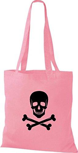 ShirtInStyle Stoffbeutel Baumwolltasche Sailing Motive Totenkopf rosa