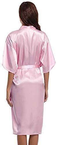 WENJZJ Frauen Satin Bademantel Langen Bademantel Pyjama Slipper Pyjama Pyjama Unterwäsche V Krawatte