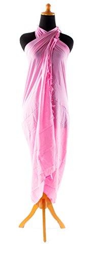 Riesen Auswahl - Sarong Pareo Wickelrock Strandtuch Tuch Wickeltuch Handtuch - Blickdicht - Einfarbig Handgefertigt inkl. Schnalle in Fischform Rosa
