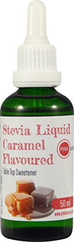 Stevia Liquid Sweetener Drops 50ml Glass Dropper Bottle - Caramel Flavour - Natural Sugar Alternative (Or choose Vanilla, Strawberry or Coconut) Test