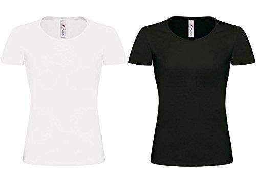 2er Pack B&C Damen T-Shirt XS,S,M,XL Rundhals Freizeit, Fitness, Arbeit Schwarz/Weiss