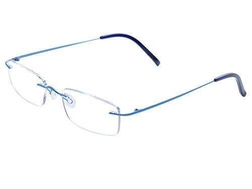 DEDING Titan randlose Brille (Blau) (Brillengestelle Für Männer Titan)