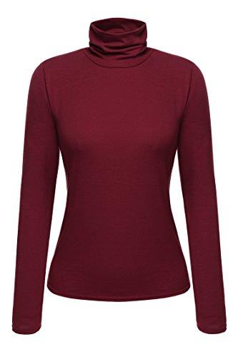 Zeagoo Damen Rollkragen Basic Slim Fit Shirt Langarmshirt Top Bluse, Weinrot, EU 42(Herstellergröße:XL)