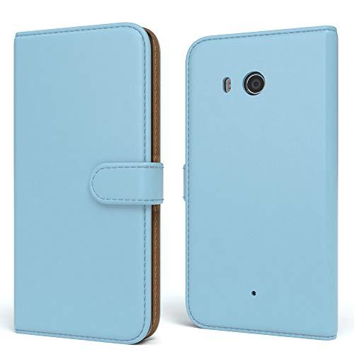 EAZY CASE HTC One (M8) / (M8s) Hülle Bookstyle mit Standfunktion, Book-Style Case aufklappbar, Schutzhülle, Flipcase, Flipstyle, Flipcover mit 2 Kartenfächern aus Kunstleder, Hellblau