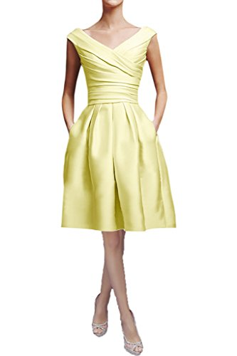 ddb31bfee9c13b Victory Bridal Elegant Rosa Damen Abendkleider Festliche Ballkleider  Partykleider Lang V Ausschnitt Gelb Kurz
