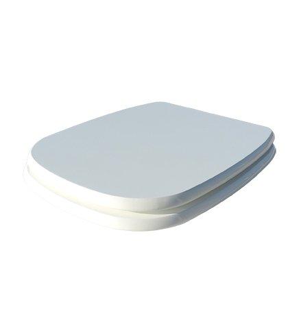 Coprivaso copriwater sedile tavoletta wc legno in mdf, compatibile fleo, bianco