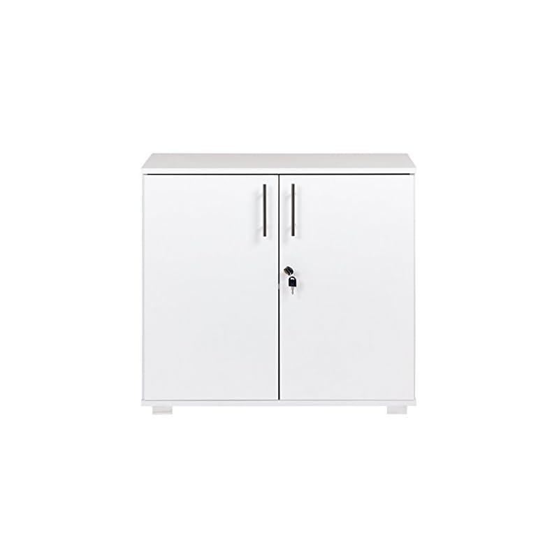 White Office Storage Cupboard Desk Height 2 Door Bookcase with Lock 73cm Tall Desktop Extension Height