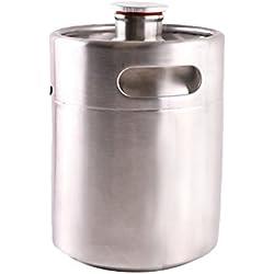 haveget 2L Mini de acero inoxidable de cerveza de barriles barril barriles de fácil de transportar doble asas bebidas barriles, 2 L