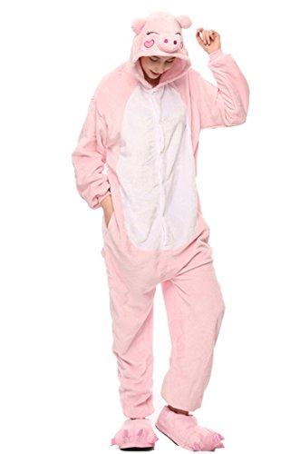 tliche Anzug Flanell Pyjamas Trickfilm Jumpsuit Tier Cartoon Fasching Halloween Kostüm Sleepsuit Party Cosplay Pyjama Schlafanzug Rosa Schwein Large ()