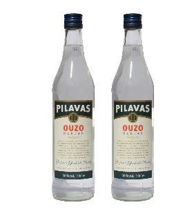 2x Ouzo Nektar Pilavas 38%-Vol. 2 Flaschen a 700 ml Set Griechenland + 2 Probier Sachets Olivenöl aus Kreta a 10 ml
