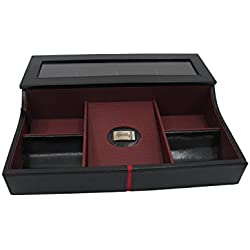 Leather Deluxe Watch Box & Desk Valet with Glass Lid Handmade by Cordays CDM-00010