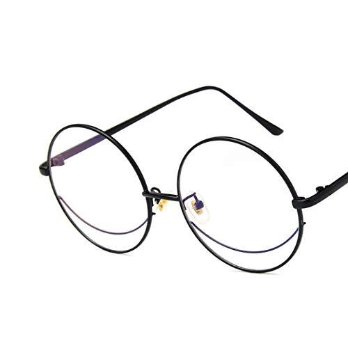 YOURSN Vintage Übergroßen Brillengestell Retro Klare Linse Metallrahmen Runde Brille Frauen Männer Klassische Flache Spiegel Gläser Oculos-Black