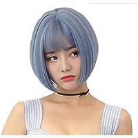 Parrucca Parrucche Parrucca Grigio Blu Capelli Corti Femminili Frangia Aria  Bobo Testa Cos Taglio Di Capelli d2031fbb0e8e