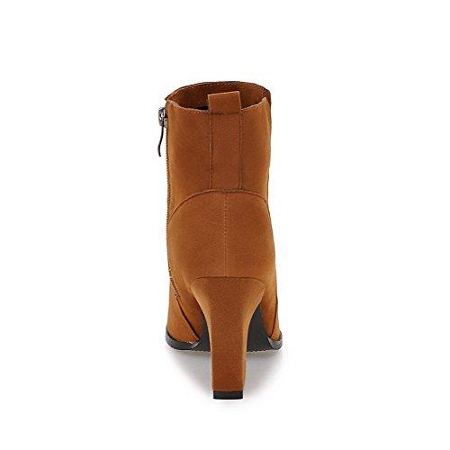 VogueZone009 Damen Mattglasbirne Reißverschluss Spitz Zehe Niedrig-Spitze Stiefel, Braun, 36