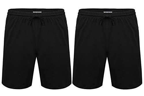 Hawiton Herren Schlafanzughose Pyjamahose Baumwolle Kurz Shorty Nachtwäsche Sleep Hose Pants Schwarz 2er Pack XL