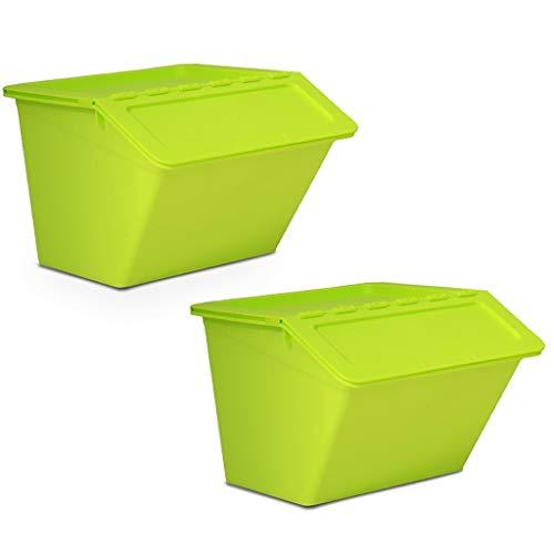 Speedmar Boîte de Rangement Portable Couverte, Grande boîte de Rangement à Ouverture latérale pour Jouets, vêtements, sous-vêtements en Plastique, 2 équipements de 37,5 x 22,5 x 28,5 cm.