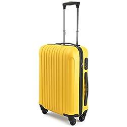 Eglemtek Valise cabine 55cm - Trolley à coque dure - ABS ultra Léger - 4 roues - couleur jaune