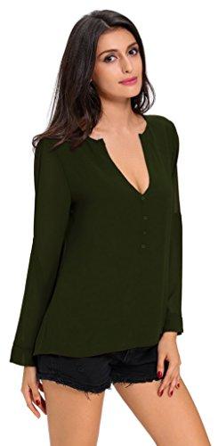 EOZY Femmes Automne Casual Chemise Manche Courte V-Cou Bouton Blouse Vert