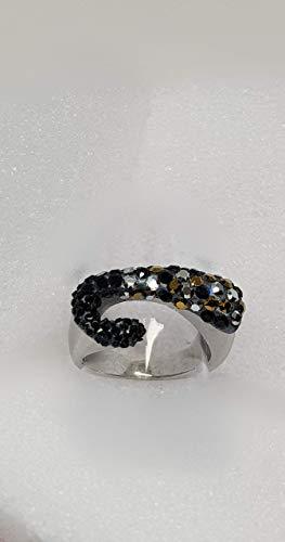 Edelstahlring in extravaganter Form mit Original Swarovski®Kristallen veredelt